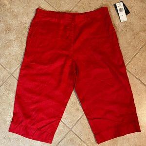 Ralph Lauren Red Linen Capri Pants